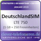 clever-telefonieren.de - LTE 750 mit 1 GB + 250 Freieinheiten